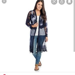 Indigo Thread Co. Open Front Embroidered Duster
